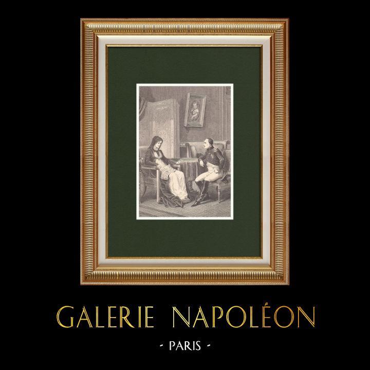 Gravures Anciennes & Dessins | Napoléon révèle à sa mère son départ de l'Ile d'Elbe (Février 1815) | Gravure sur bois | 1870