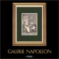 Napoleão revela a sua mãe sua próxima partida da Ilha de Elba (1815) | Xilogravura original desenhada por Philippoteaux, gravada por Charles. 1870