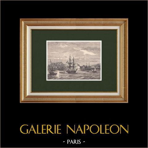 Napoléon quitte l'Ile d'Elbe (25 Février 1815) | Gravure sur bois originale dessinée par Philippoteaux, gravée par Etienne. 1870