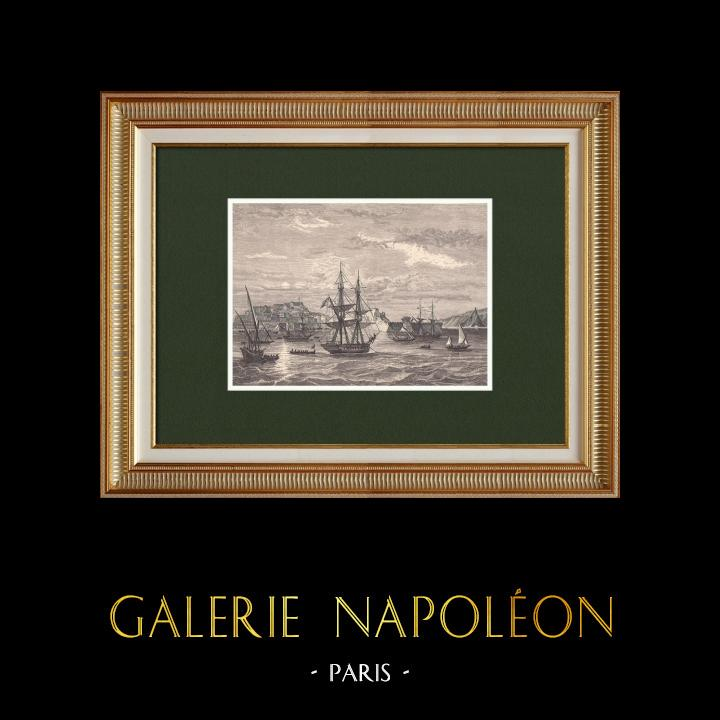 Gravures Anciennes & Dessins   Napoléon quitte l'Ile d'Elbe (25 Février 1815)   Gravure sur bois   1870