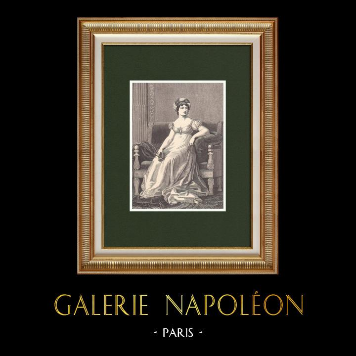 Gravures Anciennes & Dessins | Portrait de Madame de Staël (1766-1817) | Gravure sur bois | 1870