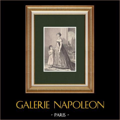 Retrato de Carolina Bonaparte, hermana de Napoleón I, con su hija Letizia (1782-1839) | Grabado xilográfico original dibujado por Philippoteaux según Élisabeth Vigée Le Brun . 1870