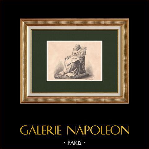 Gli ultimi giorni di Napoleone I (1821) | Incisione xilografica originale disegnata da Philippoteaux, incisa da Chapon. 1870