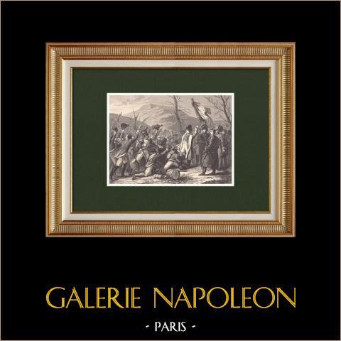 Die Hundert Tage Napoleons - Marsch nach Paris - Vol de l'aigle (1815)  | Original holzstich gezeichnet von Girardet, gestochen von Chapon. 1870