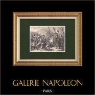 Les Cent-Jours de Napoléon - Marche vers Paris - Vol de l'aigle (1815)  | Gravure sur bois originale dessinée par Girardet, gravée par Chapon. 1870