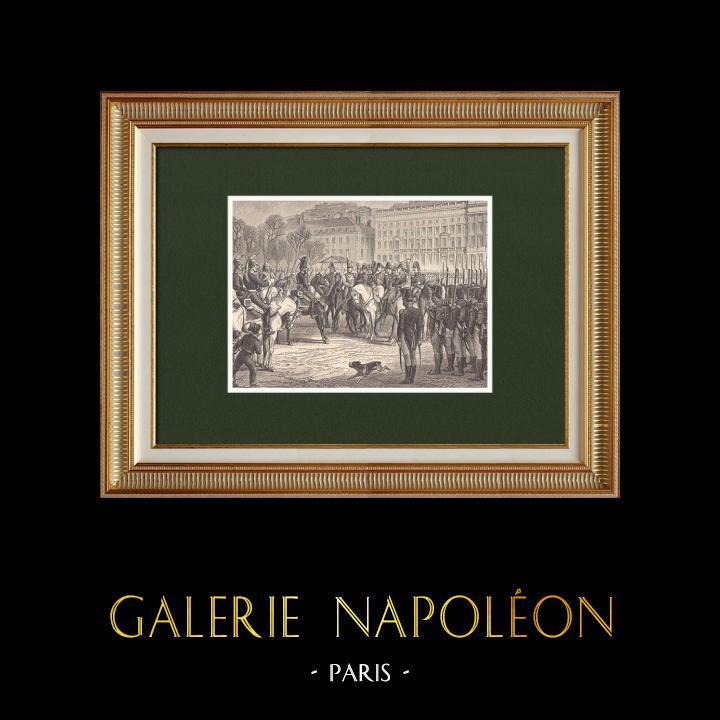 Gravures Anciennes & Dessins | Les Cent-Jours de Napoléon - Passage à Lyon - Comte d'artois (1815) | Gravure sur bois | 1870