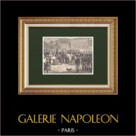 Les Cent-Jours de Napoléon - Passage à Lyon - Comte d'artois (1815) | Gravure sur bois originale dessinée par Philippoteaux, gravée par Dupré. 1870