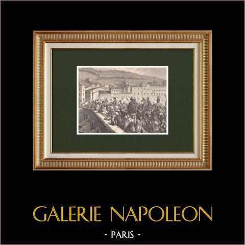 I Cento Giorni - Ingresso trionfale di Napoleone a Lyon (10 Marzo 1815) | Incisione xilografica originale disegnata da Philippoteaux, incisa da Dumont. 1870
