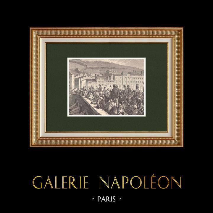 Gravures Anciennes & Dessins   Les Cent-Jours - Entrée triomphale de Napoléon à Lyon (10 Mars 1815)   Gravure sur bois   1870