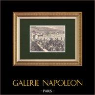 Les Cent-Jours - Entrée triomphale de Napoléon à Lyon (10 Mars 1815) | Gravure sur bois originale dessinée par Philippoteaux, gravée par Dumont. 1870