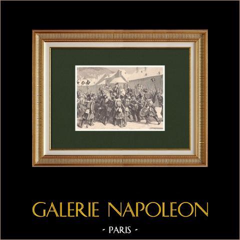 Napoleons hundert Tage - Neys Proklamation in Lons-le-Saunier (15. März 1815) | Original holzstich gezeichnet von Philippoteaux, gestochen von Deschamps. 1870