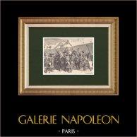 Les Cent-Jours de Napoléon - Proclamation de Lons-le-Saunier par Ney (15 Mars 1815)  | Gravure sur bois originale dessinée par Philippoteaux, gravée par Deschamps. 1870