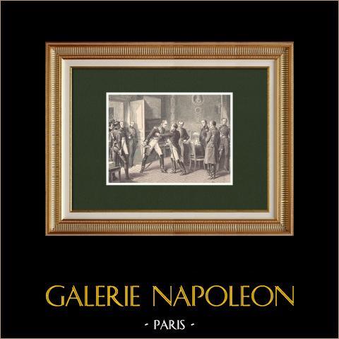 Die hundert Tage - Treffen Napoleons mit Marschall Ney in Auxerre (1815) | Original holzstich gezeichnet von Philippoteaux, gestochen von Barbant. 1870