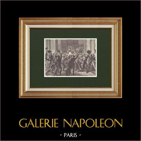 I cento giorni - Ritorno di Napoleone alle Tuileries (20 Marzo 1815) | Incisione xilografica originale disegnata da Philippoteaux, incisa da Chapon. 1870