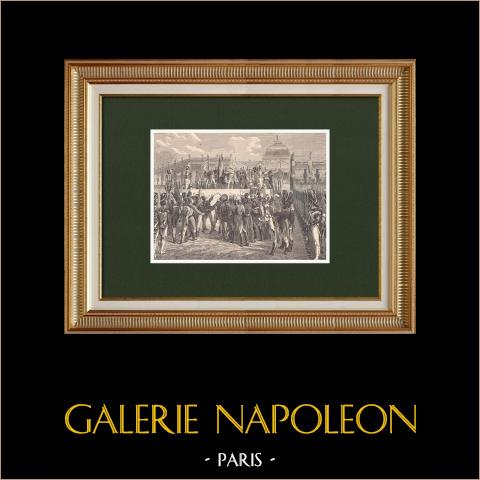 Il ritorno di Napoleone dall'esilio - Distribuzione di bandiere al Champ de Mars (1815) | Incisione xilografica originale disegnata da Philippoteaux, incisa da Meaulle. 1870
