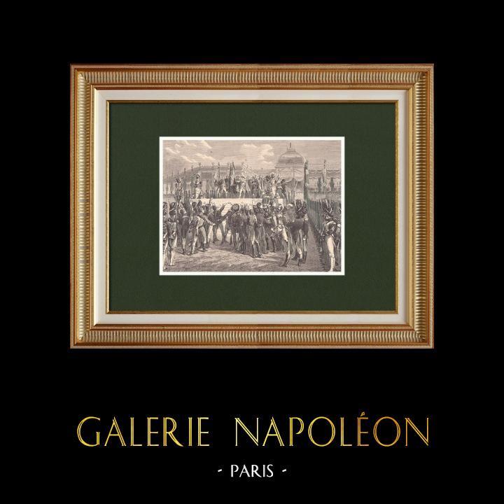 Gravures Anciennes & Dessins | Retour d'exil de Napoléon - Distribution des drapeaux au Champ de Mars (1er Juin 1815) | Gravure sur bois | 1870