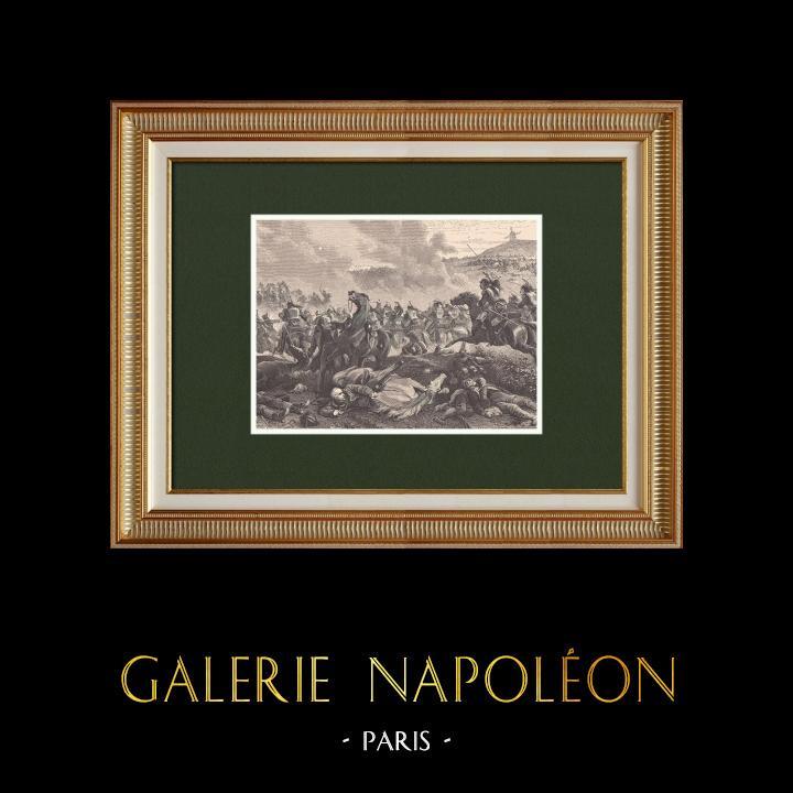Gravures Anciennes & Dessins   Bataille de Ligny - Napoléon Ier - Gebhard von Blücher (16 Juin 1815)   Gravure sur bois   1870