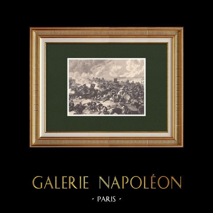 Gravures Anciennes & Dessins | Bataille de Waterloo - Maréchal Ney - Champ de Bataille (18 Juin 1815) | Gravure sur bois | 1870