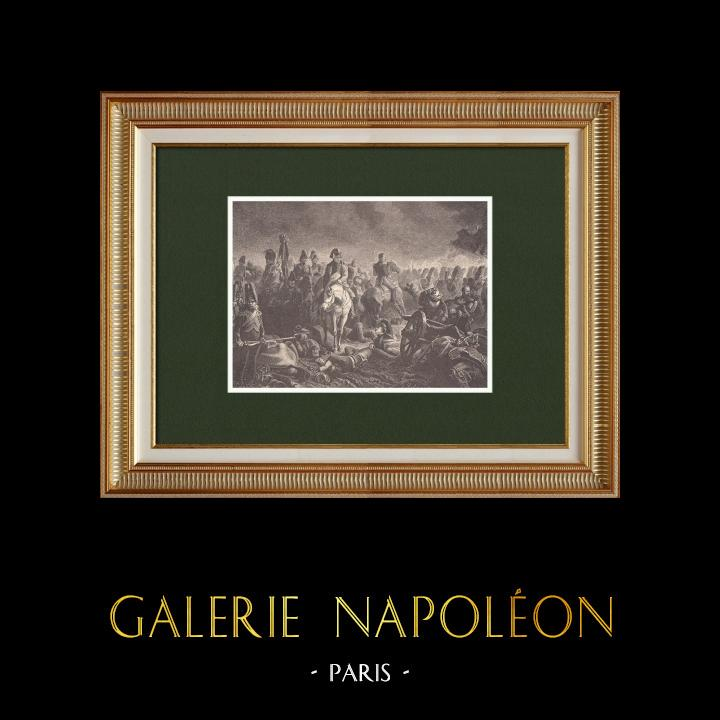 Gravures Anciennes & Dessins | Bataille de Waterloo - Napoléon et les Grenadiers de la Garde (18 Juin 1815) | Gravure sur bois | 1870