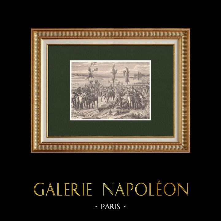 Grabados & Dibujos Antiguos | Batalla de Waterloo - Tácticas militares - Mariscal Grouchy (1815) | Grabado xilográfico | 1870