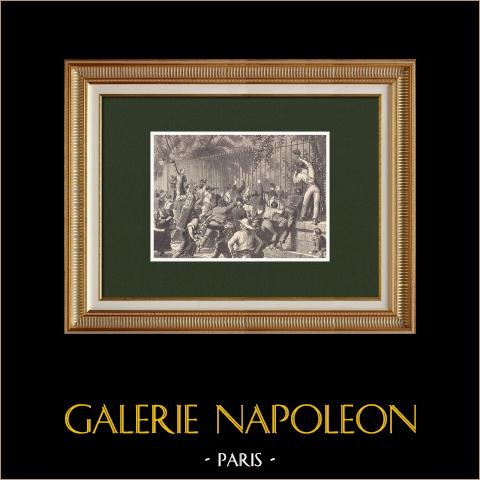 Napoleone a Palazzo dell'Eliseo dopo la sconfitta a Waterloo (1815) | Incisione xilografica originale disegnata da Philippoteaux, incisa da Sargent. 1870