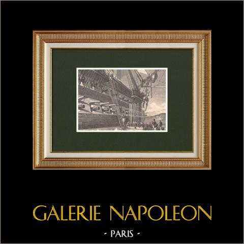 Embarquement de Napoléon pour Sainte Hélène sur le Bellérophon (15 Juillet 1815) | Gravure sur bois originale dessinée par Philippoteaux. 1870