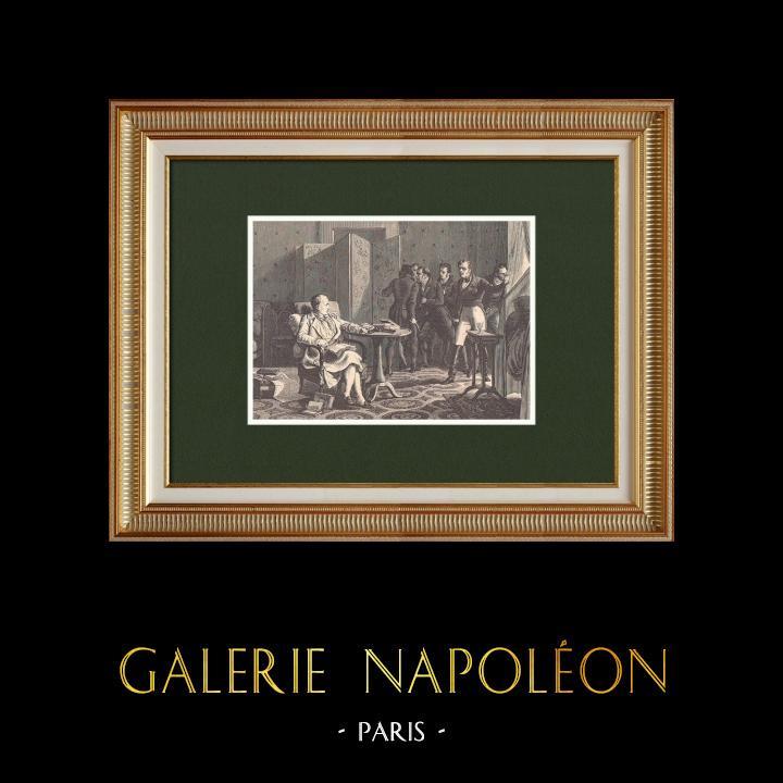 Gravures Anciennes & Dessins | Le général Hudson Lowe surveille Napoléon sur l'Ile de Sainte-Hélène (1816) | Gravure sur bois | 1870