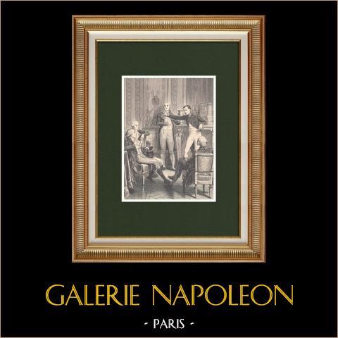 Discorso del Primo Console a Gaspard Monge | Incisione xilografica originale disegnata da Philippoteaux, incisa da Barbant. 1870