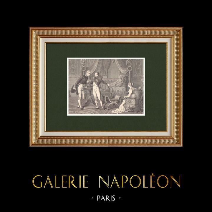 Gravures Anciennes & Dessins   Napoléon introduit Metternich auprès de Marie-Louise (1809)    Gravure sur bois   1870