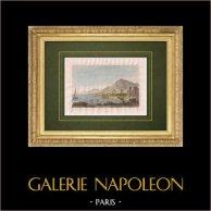 Vue de Palerme - Baie de Palerme - Monte Pellegrino - Sicile (Italie)   Gravure originale en taille-douce sur acier dessinée par Storelli, gravée par Sauvage. Aquarellée à la main. 1834