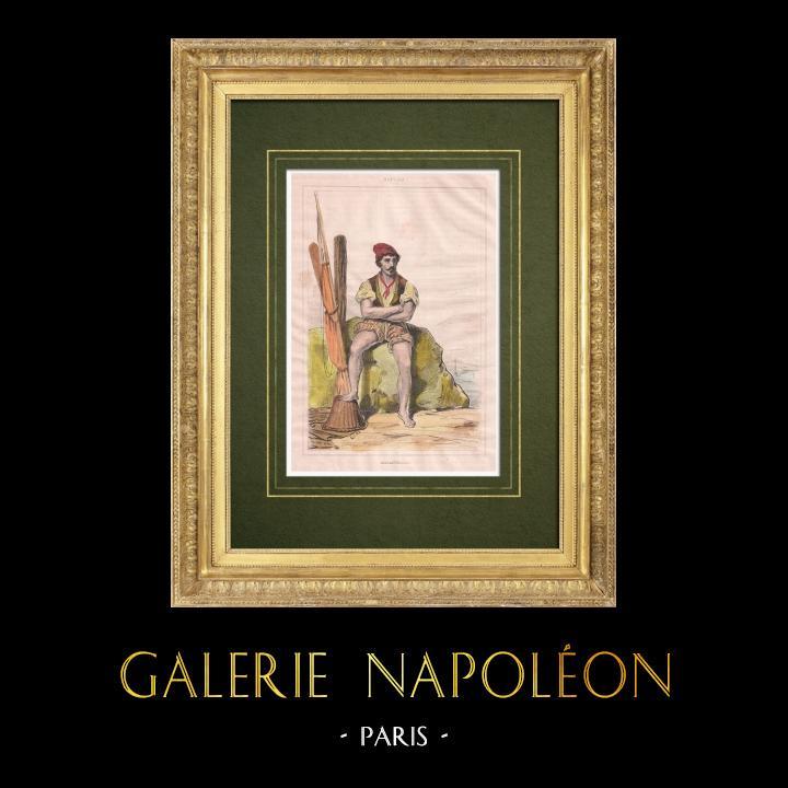 Grabados & Dibujos Antiguos | Masaniello, revolucionario napolitano del siglo XVII (Italia) | Grabado en talla dulce | 1834