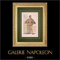 Henri Ier de Guise dit le Balafré - Costume (1549-1588)   Gravure originale en taille-douce sur acier dessinée par Deveria, gravée par Chaillot. Aquarellée à la main. 1834