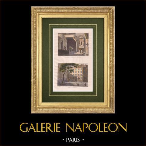 Casa di Napoleone Bonaparte - Battistero - Cattedrale - Ajaccio - Corsica (Francia) | Stampa calcografica originale a bulino su acciaio disegnata e incisa da De Vèze. Acquerellata a mano. 1834