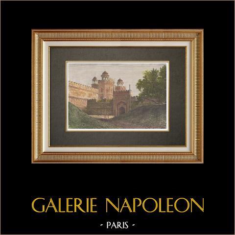 Fort Rouge - Porte principale - Delhi (Inde) | Gravure sur bois originale dessinée par Clerget, gravée par Barbant. Aquarellée à la main. Texte au verso. 1874