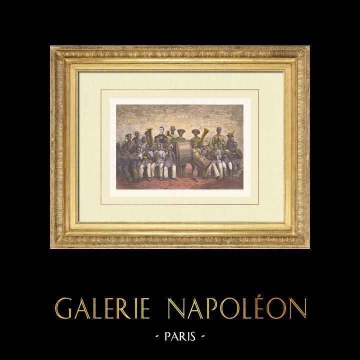 Gravures Anciennes & Dessins | Mission du Gabon - Enfants - Baraka - Afrique Centrale (Gabon) | Gravure sur bois | 1876