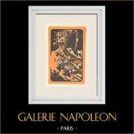 Puy des Goules - Forest - Woodcutters - Puy-de-Dôme (France) | Original polychrome print after Busset. 1924