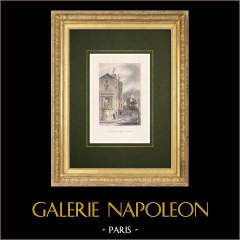 Fuente Cuvier - Jardin des Plantes - Paris | Grabado original en talla dulce sobre acero dibujado y grabado por Marvy. Agua-coloreado a mano. 1842