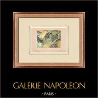 Post-impressionismo - Suonatore di flauto sulla scogliera - Bretagna (Paul Gauguin) | Stampa originale secondo Paul Gauguin. 1950