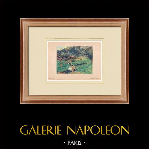 Post-Impressionism - Landscape of Tahiti (Paul Gauguin) | Original polychrome print after Paul Gauguin. 1950