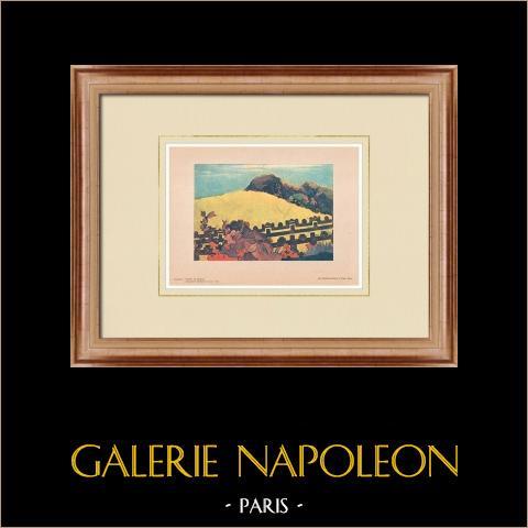 Post-Impressionism - Parahi Te Marae - Tahiti (Paul Gauguin) | Original polychrome print after Paul Gauguin. 1950