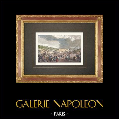 Föderationstag auf dem Champ de Mars - Paris (1790) | Original holzstich gestochen von A. Orszagh. Handaquarelliert. 1860