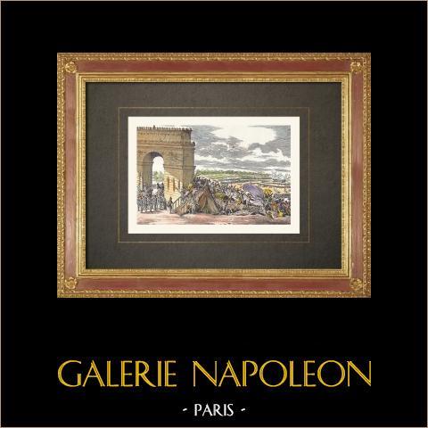Föderationstag auf dem Champ de Mars - Paris (1790) | Original holzstich gestochen von Orszagh nach Jean Duplessis-Bertaux. Handaquarelliert. 1860