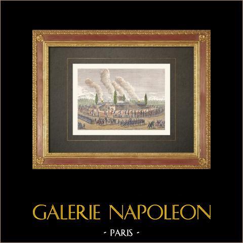 Ceremonia en Chateaudun - Guardia Nacional - Caso de Nancy (1790) | Grabado xilográfico original grabado por Gillot según Duplessi-Bertaux. Agua-coloreado a mano. 1860