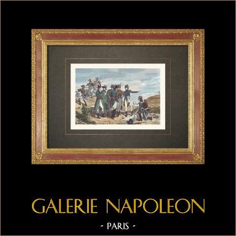 Bonaparte all'assedio di Tolone (Novembre 1793) | Incisione xilografica originale incisa da Comte. Acquerellata a mano. 1860