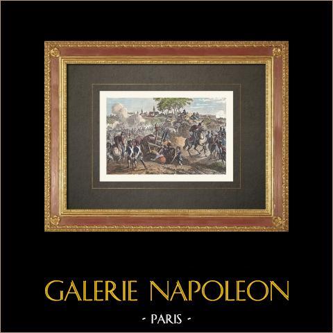 Revolución Francesa - Defensa de Thionville - Felix de Wimpffen (1792) | Grabado xilográfico original según Martinet. Agua-coloreado a mano. 1860