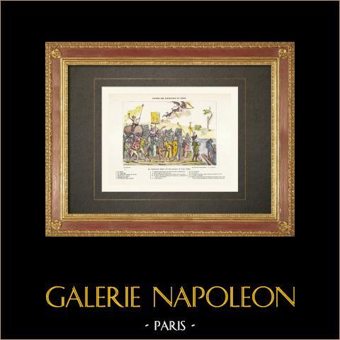 Französische Revolution - Karikatur - Réfractaires allant à la terre promise (1792) | Original holzstich gestochen von Rapine. Handaquarelliert. 1860