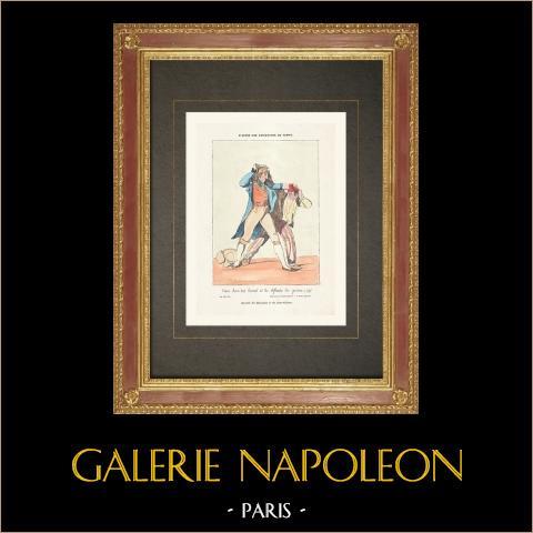 Französischen Revolution - Karikatur - Muscadins und Sans-Culottes | Original holzstich. Anonym. Handaquarelliert. 1860
