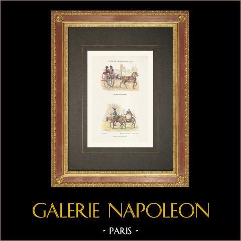 Französische Revolution - Karikatur - Départ des Remplacés - Arrivée des Remplaçants | Original holzstich gezeichnet von Rapine. Handaquarelliert. 1860