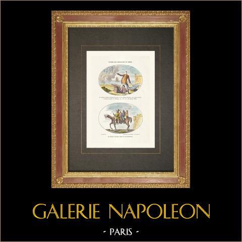 Französischen Revolution - Karikatur - Narbonne-Lara (1792) | Original holzstich gezeichnet von Rapine. Handaquarelliert. 1860