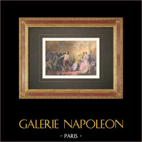 Französischen Revolution - Tuileriensturm (10 August 1792)  | Original holzstich. Anonym. Handaquarelliert. 1860